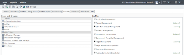 Screenshot of the Tridion CME interface showing the default groups with rights on a publication