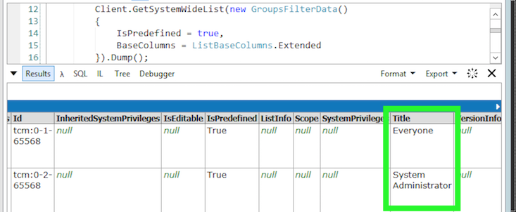 Dump of user groups returned by the core service when ispredefined is true
