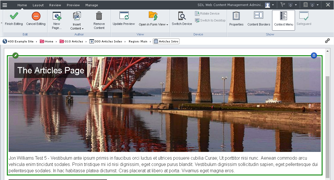SDL DXA Article page being edited using Tridion Experience Manager
