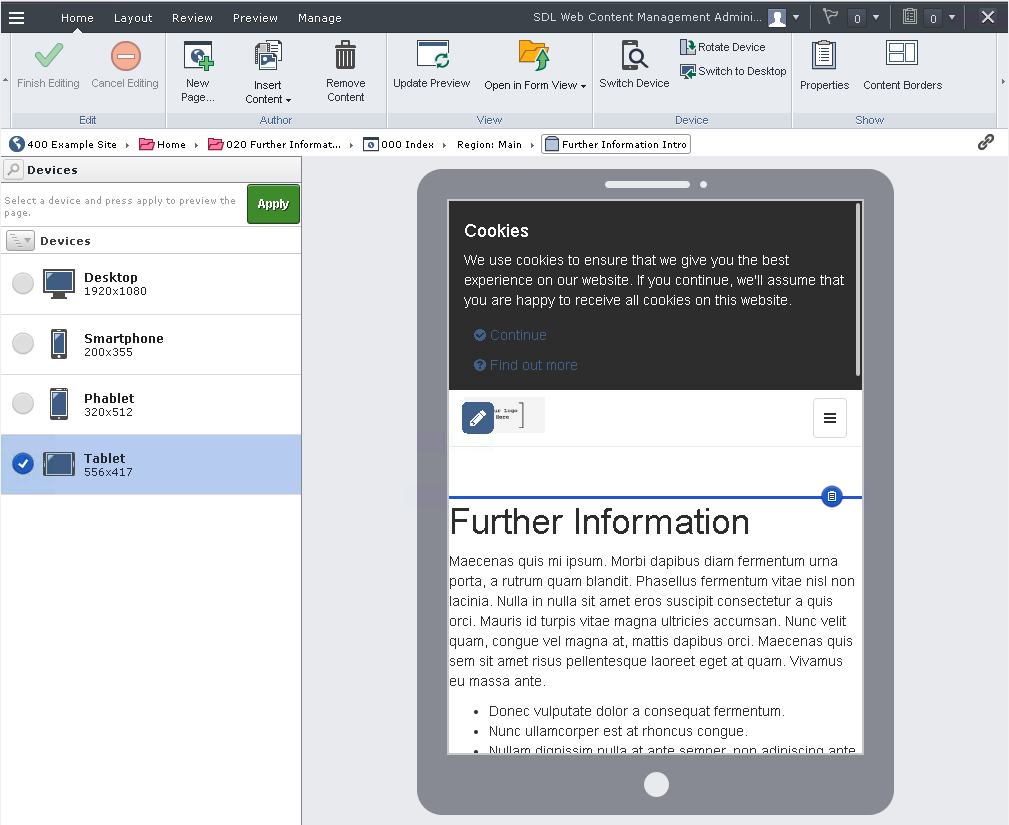 Screenshot of Tridion Experience Manager Device Preview