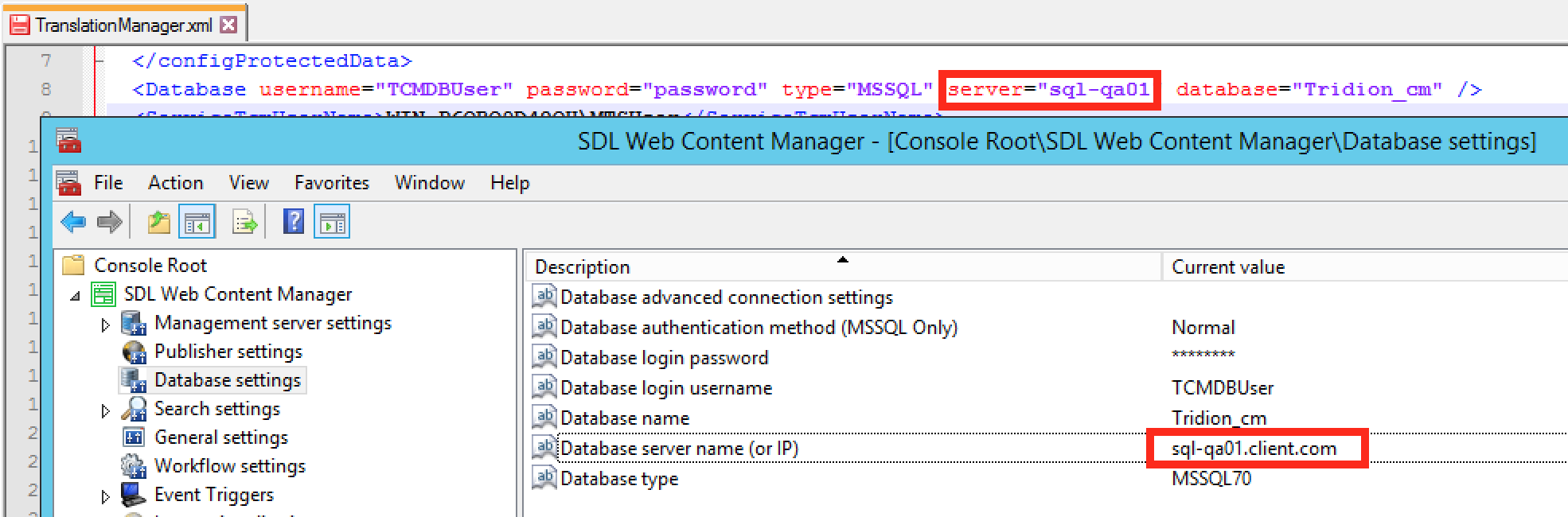 Screenshot of Tridion Translation Manager database credentials compared with MMC Snap-in